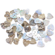 100 Pcs Mixed Colour Heart-shaped 2 Holes Beautiful Natural Shell Sewing Buttons Sewing Craft Product