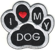 1 Pieces Small 4.4cm x 5.1cm inches Applique Patches Mini Black White I love heart my Dog Animal Paw Print Embroidery Patch Embroidered Iron On Sewing Making Handcraft Clothing Craft Logo Decoration