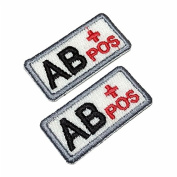 NT0008 2 pcs Blood Type AB+ Biker Front of Vest Jacket Medical Treatment Military Badges Tactical 100% Embroidered Patch Iron or Sew