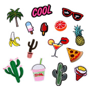Kangkang@ Set 15 PCS Funny Cute DIY Clothes Patches Stickers Cartoon Banana Cactus Orange Patches for T-shirt Jeans Clothing Bags