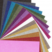 MAREA Premium Glitter Heat Transfer Vinyl (HTV) Sheets - 16 Colour Bundle Pack, multi-colours, Vinyl Heat Transfer, HTV Bundle for T-shirts & Iron On, Silhouette Cameo, Heat Press & Cricut Machines
