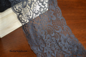 PoshNPretty Grey 23cm wide x 10 yards Floral Pattern Lace Chantilly trim for bridal, baby, Table Runner Ribbon