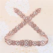 Wedding Bridal Sash Applique, 90cm x 4.8cm , Crystal Rhinestone Applique Pearls Beaded long Handmade Sewn Iron on for DIY Wedding Bridal Belts - Rose Gold