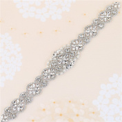 Bridal Wedding Dress Sash Belt Applique with Crystals Rhinestones Pearls Beaded Dacorations Handcrafted Sparkle Elegant Thin Sewn or Hot Fix for Women Gown Evening Prom Clothes - Silver