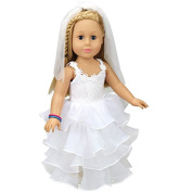 Aimee Doll Clothes, White Wedding Dress and Scarf Gift Outfit Fits American Girl Doll, My Life Doll, Our Generation and other 46cm Dolls