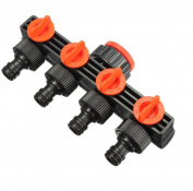 Coohole Garden Water Tap Splitter Adaptor Quick Thread Hose Pipe Connector Adapter 4 Way, Black