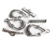 Heather's 33 Pieces Silver Tone Teardrop Stripe Clasp Toggle Findings Jewellery Making 24X14/21X5mm
