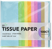 100 CT Pastel (Light blue, Light Green, Lime green, Yellow, Deep yellow, Light Pink, Pink, Purple, Tan, White), 17GSM ( thick, durable & crispy) Premium Quality TISSUE PAPER