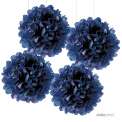 Andaz Press Large Tissue Paper Pom Poms Hanging Decorations, Navy Blue, 36cm , 4-Pack, Nautical Baby Bridal Shower Wedding Decorations