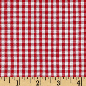 Wide Width 0.3cm Gingham Cheque Red/White Fabric By The Yard
