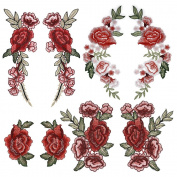 OPount 8 Pieces 4 Set Multifarious Embroidery Lace Flower Applique Sew On Patches DIY Collar Bust Dress Bag Shoes Craft Decor