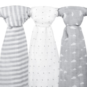 Muslin Baby Swaddle Blankets, 47x47 (3 Pack) Grey Cloud, Stripe & Stars