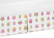 Sweet Jojo Designs Modern Crib Bed Skirt Dust Ruffle for Pink Happy Owl Collection Bedding Sets