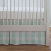 Carousel Designs Mint Buffalo Cheque Crib Skirt Single-Pleat 43cm Length - Organic 100% Cotton Crib Skirt - Made in the USA