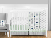 Grey, Navy Blue and Mint Woodland Arrow 11 Piece Baby Boy or Girl Crib Bed Bedding Set Without Bumper