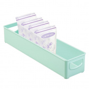 mDesign Baby Food Storage Organiser Bin for Breast Milk, Formula, Sippy Cups - 41cm x 10cm x 7.6cm , Light Mint Green