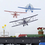 Wall Decal Decor 3 Aeroplanes Wall Decal - Wall Decals Nursery Boy Biplane Monoplane Wall Decal Boys Kids Room Playroom Decor