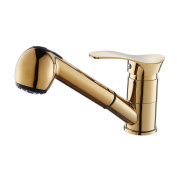 OWOFAN Gold Polished Basin Sink Faucet Pull Out Sprayer 360 Degree Swivel Spout Mixer Brass Tap,WF-7005K