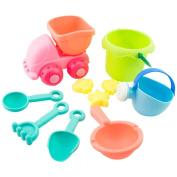 Leegor 10Pcs Kids Soft Silicone Beach Toys Sandbeach Castle Bucket Spade Shovel Rake Water Tools Bathtub Plaything