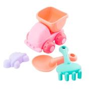 Leegor 4Pcs Kids Soft Silicone Beach Toys Sandbeach Castle Bucket Spade Shovel Rake Water Tools Bathtub Plaything