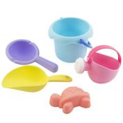 Leegor 5Pcs Kids Soft Silicone Beach Toys Sandbeach Castle Bucket Spade Shovel Rake Water Tools Bathtub Plaything