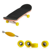 cici store Maple Wood Deck Fingerboard Skateboard with Yellow Wheels Sport Games Kids Novelty Toys Gift