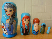 """""""Frozen"""" Russian nesting Doll Set of 5 piece. Hand-painted in Russia."""