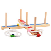 Qisc Ring Toss Game, Quoits Game for Kids & Adults - Indoor or Outdoor Game with Rope Rings - Boys & Girls Can Play This Fun Lawn Game at BBQ, Tailgating Parties