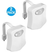 Toilet Night Light,[2Pack]by Ailun,Motion Activated LED Toilet Light,8 Colours Changing Toilet Bowl Nightlight for Bathroom[Battery Not Included][White]