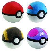 Poke Ball Collection 4pc Complete Plush Set - PokeBall GreatBall UltraBall MasterBall 13cm Plushes