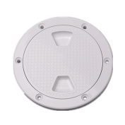 15cm Boat Round Non Slip Inspection Hatch Cover with Durable rubber strip sealing white