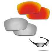 Fiskr Anti-saltwater Polarised Replacement Lenses for Oakley Fives Squared Sunglasses 2 Pairs Packed