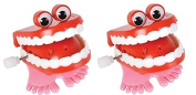 2 Count Chattering Chomping Wind up TOY Walking Teeth with Eyes