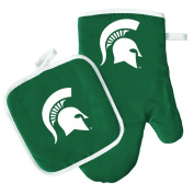Oven Mitt and Pot Holder Set - Barbeque BBQ Kitchen Backyard Outdoors - NCAA - Michigan St Spartans