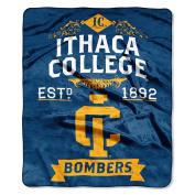 NCAA Ithaca Bombers Plush Raschel Throw Blanket, Blue, 130cm x 150cm