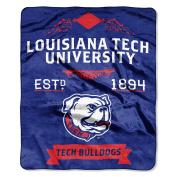NCAA Louisiana Tech Bulldogs Plush Raschel Throw Blanket, Blue, 130cm x 150cm