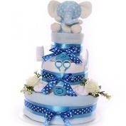 Elephant Nappy cake gift baby boy, new baby boy gift, large nappy cake gift