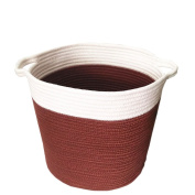 SFGHOUSE Cotton Rope Knitted Storage Basket Bin Foldable Laundry Basket Hamper with Handles for Nursery Kids Toys Storage
