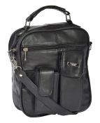 Mens Real Black Leather Handbag Soft Classic Casual Mobile Money Travel Bag - RON