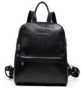 BOSTANTEN Women Genuine Leather Backpack Purse Satchel Shoulder School Bag Rucksack for College Black Medium