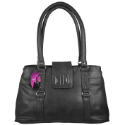 Hey Hey Handbags - Ladies Classic Handbag with Compartments, Colour : Black
