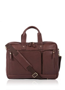 Full Grain Aniline Leather Wasdale Work Bag briefcase in chestnut brown