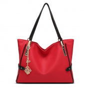 Panzexin Fashion Pu Leather Work Tote Bags Shoulder Handbag with Metal Flower Pendant