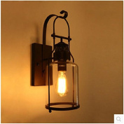 ZLL Rustic industrial style antique, bedroom bedside retro iron glass wall lamp