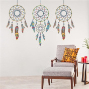 LianLe Indian Style Three Dreams Catcher Wall Sticker Removable Decal for Living Room Bedroom Bathroom Kid's Room
