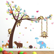 DIY Cartoon Wall Decals,Removable Forest Animals Trees and Cororful Leaves Wall Stickers with Cute Monkey Squirrel Hedgehogs Wall murals for Childrenroom Playroom Bedroom Nursery school