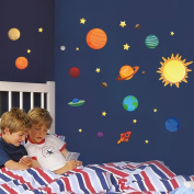 Wallpark Solar System Outer Space Planet Stars Removable Wall Sticker Decal, Children Kids Baby Home Room Nursery DIY Decorative Adhesive Art Wall Mural