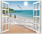 XMJR Large angle beach dining room window stickers fake landscape room decoration wall stickers specifications 72*90cm