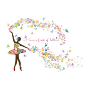 Winhappyhome Flowers Fairy Wall Art Stickers for Bedroom Living Room Coffee Shop Background Removable Decor Decals