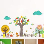 Rainbow fox kids animal wall stickers tree wall stickers owl stickers monkey decal